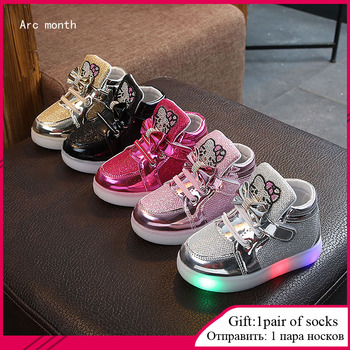 Fashion New Spring Autumn Children Glowing Sneakers Kids Shoes Chaussure Enfant Hello Kitty Girls Shoes With LED Light 21-30