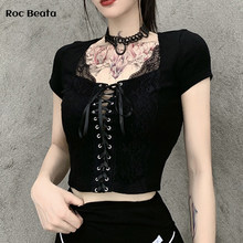 Vintage Tops Goth Women T-Shirts Bodycon Bandage Lace Streetwear Sexy Female Top Casual Mesh Tee