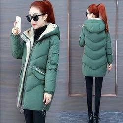 Vangull 2019 Women Winter Hooded Warm Coat Plus Size Green Cotton Padded Jacket Female Long Parka Womens Wadded Jaqueta Feminina 3
