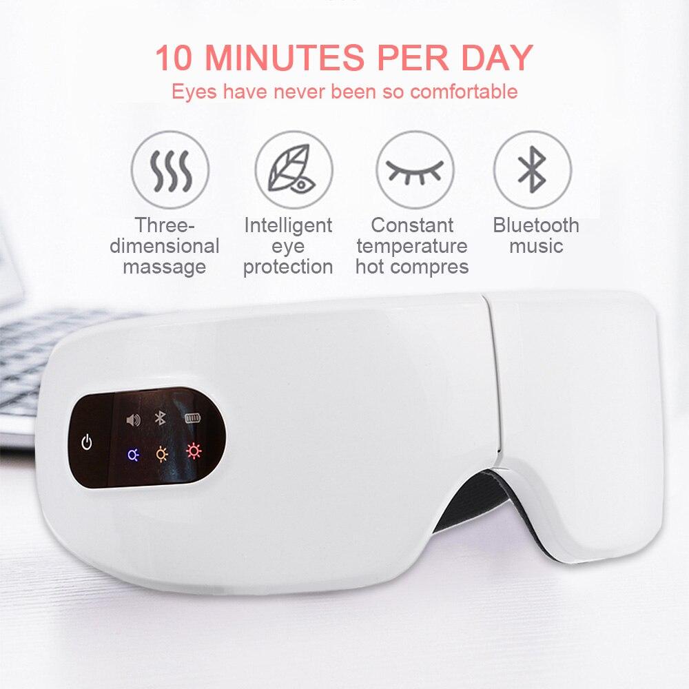 Elektrische Vibration Bluetooth Auge Pflege Gerät Falten Müdigkeit Entlasten Gläser 10S Heiße Kompresse Therapie Brille Dropshipping