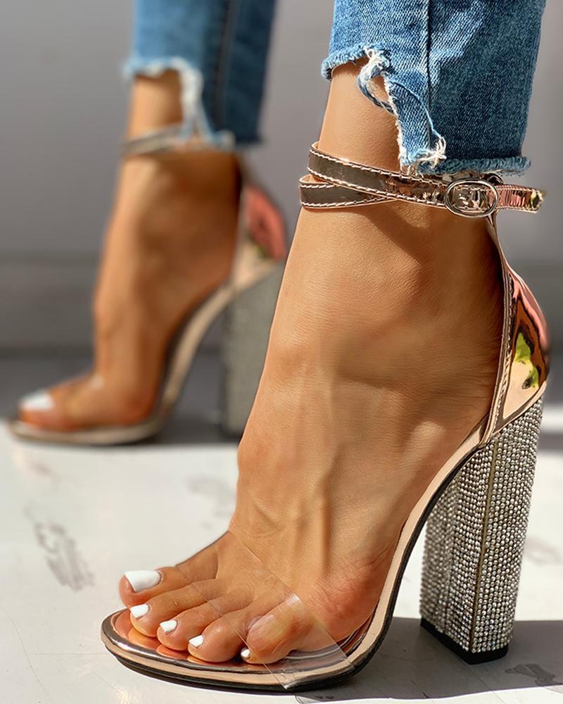 Sexy talons hauts femmes pompes or strass talons dames chaussures classique pompes grande taille 35-43 chaussures femmes boucle sangle sandales