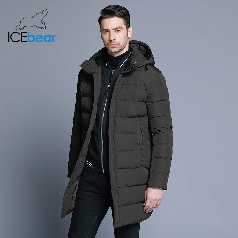 ICEbear 2019 Winter Jacket Men Hat Detachable Warm Coat Causal Parkas Cotton Padded Winter Jacket Men Clothing MWD18821D