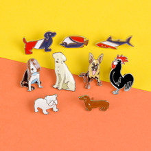 Pin de animal a rayas azul rojo y blanco Dachshund shark esmalte pines broches pez Tropical Polla solapa pin insignia joyería niños regalo(China)