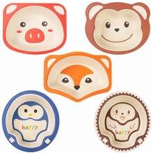Миски из натурального бамбукового волокна для маленьких детей, милые Мультяшные блюда с животными, посуда для кормления детей, портативные ...