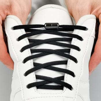 1 para metalowy zamek sznurowadła okrągłe elastyczne buty sznurowadła specjalne bez krawata sznurowadło dla mężczyzn kobiety sznurowanie gumowe Zapatillas 23 kolory tanie i dobre opinie SOBU CN (pochodzenie) Stałe No Tie SLK01 NYLON