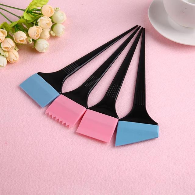6 pièces professionnel cheveux teinture brosse cheveux coloration peigne ensemble poignée en plastique Silicone teinture brosse coiffure outils accessoires