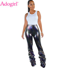 Adogirl Shining Sequined Pencil Pants Pleated Ruched Hem High Waist Highly Stretchy Women Trousers Night Club Party Outfit