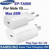 Samsung-cargador superrápido para teléfono móvil inteligente, adaptador de corriente de enchufe europeo/estadounidense de 25W para Galaxy S10 + S20 Note8 9 10 Plus(5G), EP-TA800 Original