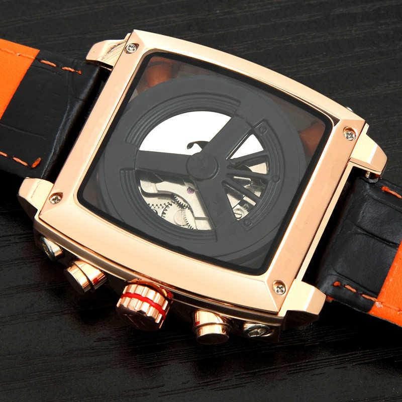 Üst marka lüks İzle erkekler tonneau otomatik Tourbillon izle Joker paslanmaz çelik iş spor mekanik kol saati