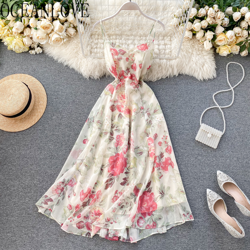 Платье с цветочным принтом в пляжном стиле с v-образным вырезом и высокой талией, сексуальное богемное Бандажное платье, элегантные летние ...