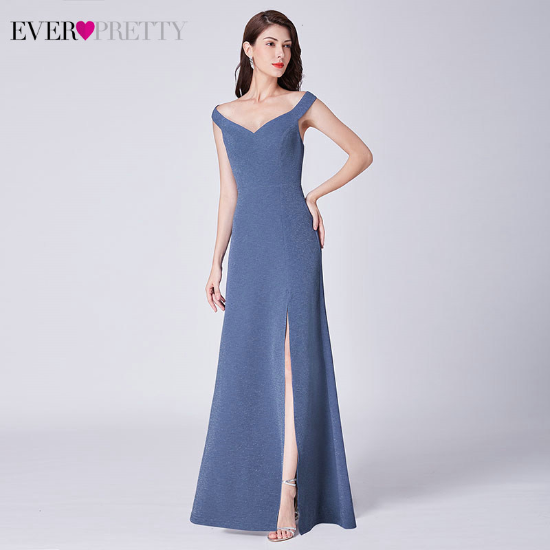 Simple Prom Dresses Ever Pretty EP07415 A-Line V-Neck Sleeveless Side Split Elegant Long Party Gowns Vestidos Largos 2020