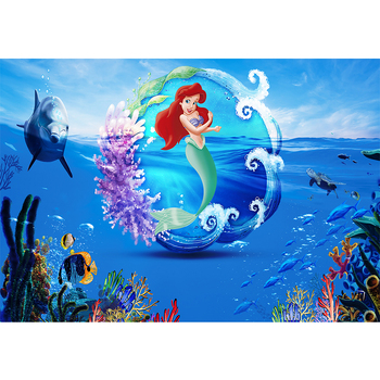 Photography Backdrops Under the Sea Little Ariel Mermaid Photo Background Photocall Birthday Party Decorations Backdrop props
