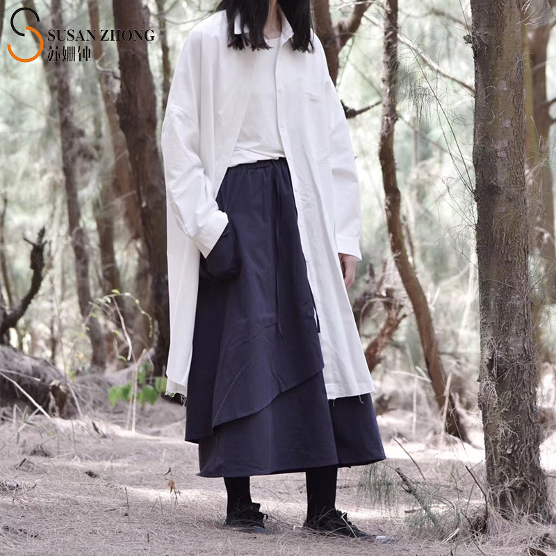 Женщины Рубашки Женские Блузки Топы Длинные Рукава Нормируют Norm Core Минималистский Твердое платье Длинный Хлопок Японский стиль Осенняя щель