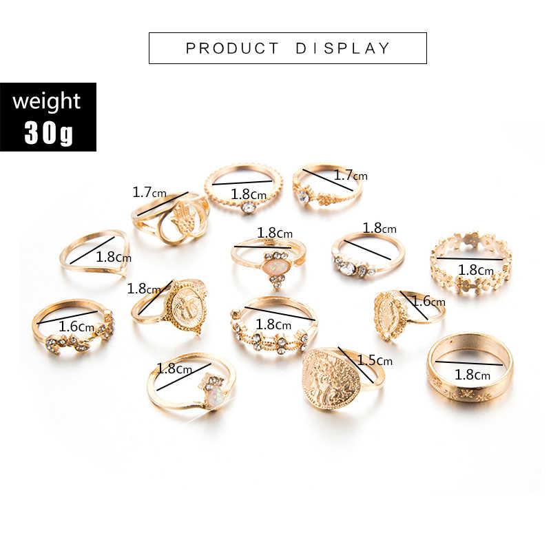Tocona 15 pçs/set Boho Anéis para As Mulheres Moda Coração Fatima Mãos Anillos Kольцо Virgem Maria Cruz Folha Geométrica Jóias 7056