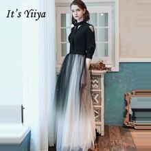 Женское вечернее платье it's yiiya черное элегантное длинное