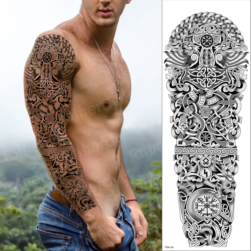 Mens Fake Tattoo Arm Sleeve Black Sketches Tattoo Designs Water Transfer Large Temporary Tattoo Sticker Body Tatoo Boys Vintage Temporary Tattoos Aliexpress