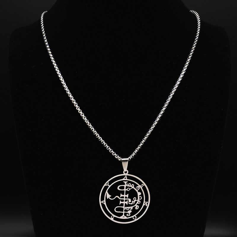 2020 moda Sigeal Sigil De lucyfer ze stali nierdzewnej szatan naszyjnik Asmoday Lazer Key Baphomet znaczek naszyjnik biżuteria N3042S03