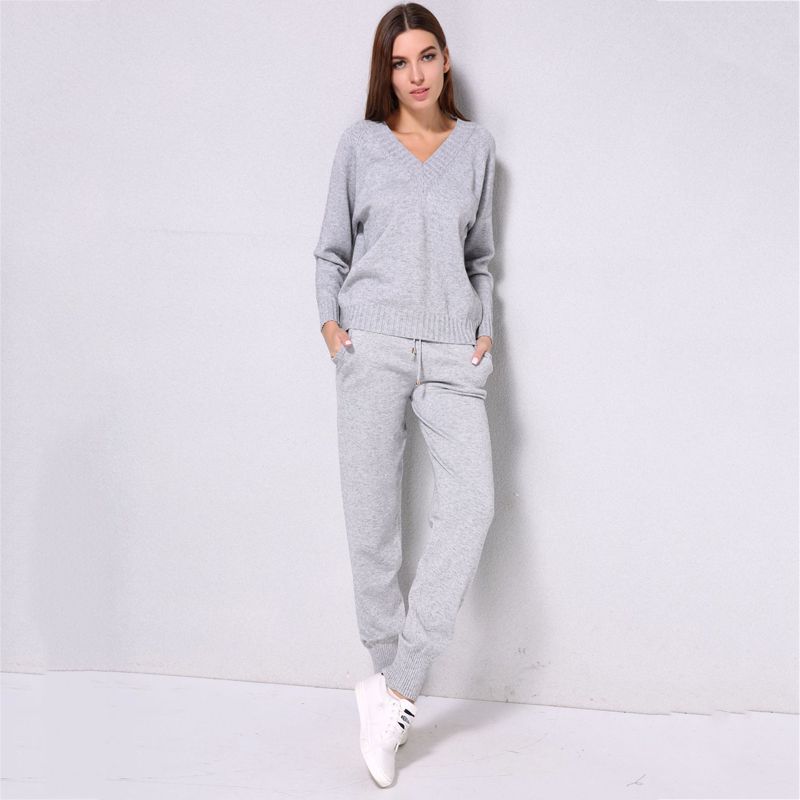 Autumn And Winter Fashion Casual Women's Knit Suit V-neck Solid Color Shirt Trousers Suit