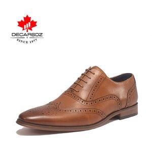 Image 4 - DECARSDZ גברים מלא גרגרים עור אמיתי נעלי גברים מותג אוקספורד גברים נעלי אופנה חדש יוקרה שמלת נעלי גברים פורמליות נעליים