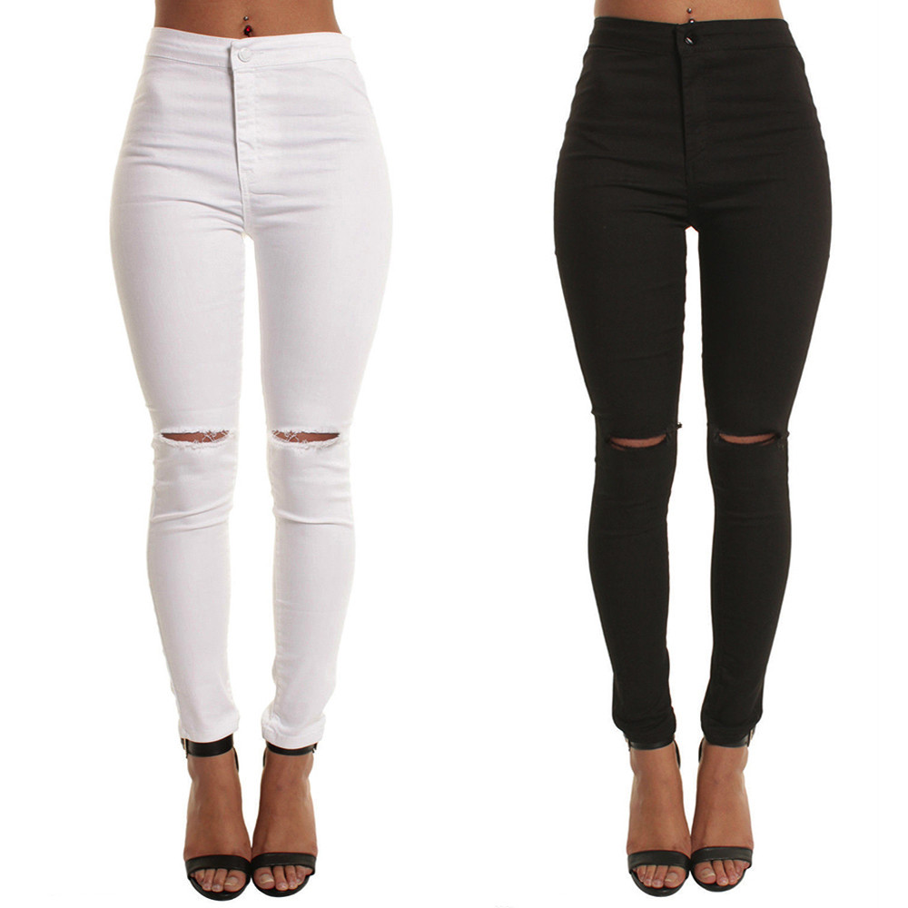 Ladies Jeans Casual Slim Solid Hole Long Jeans Zippers Sexy Skinny Pants Split knee Daily Trousers Women Mom Jeans High Waist