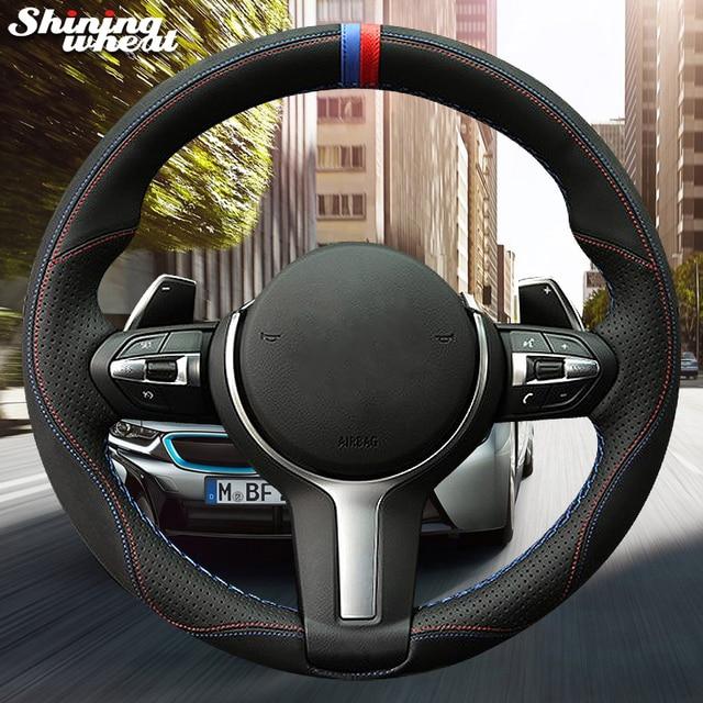 Glänzende weizen Schwarz Wildleder Leder Auto Lenkrad Abdeckung für BMW F87 M2 F80 M3 F82 M4 M5 F12 F13 m6 F85 X5 M F86 X6 M F33 F30