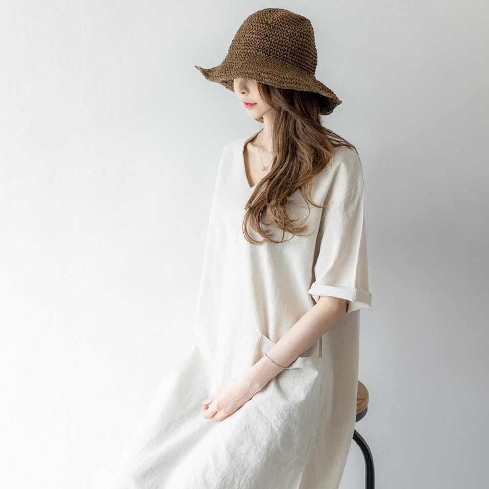 Verão casual escritório senhoras coreano estilo japão algodão linho solto camisa vestido feminino maxi design simples sólidos vestidos longos 2020