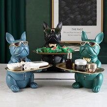 Resin Cool Hond Sculptuur Bulldog Decoratieve Beeldje Opbergvak Coin Bank Entree Sleutel Snack Houder Moderne Kunst Standbeeld