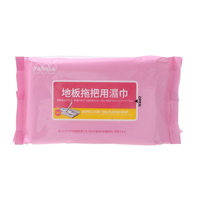 24pcs/pack Disposable Floor Flat Wet Mop Paper Cloth Electrostatic Dust Removal Household Cleaning Tiles Marble