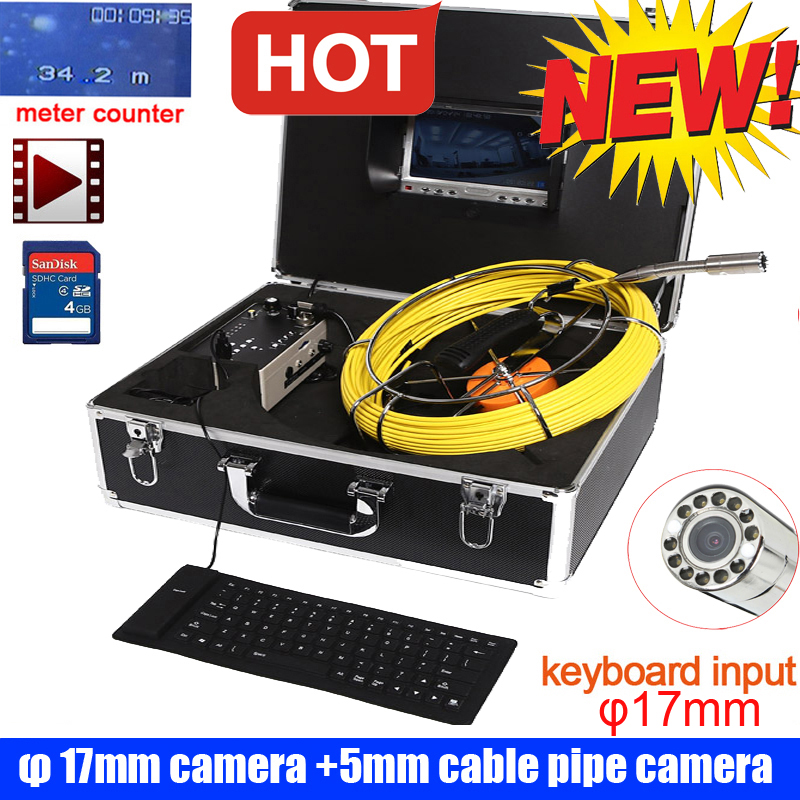 17mm Meter Counter DVR Recorder Pipe Sewer Drain Pipe Inspection Camera With DVR 7 Inch Monitor With Dvr Recorder