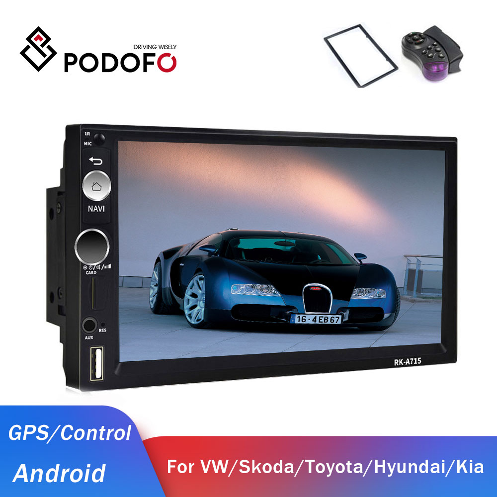 Podofo 2din Car <font><b>Radio</b></font> Android <font><b>2</b></font> <font><b>din</b></font> Car Multimedia Player GPS <font><b>2</b></font> <font><b>DIN</b></font> Audio stereo for Volkswagen Nissan Hyundai Kia Toyota Seat image