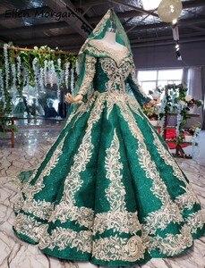 Image 2 - Glitter Dark Green Lange Mouwen Baljurken Trouwjurken Met Sluiers 2020 Puffy Arabisch Moslim Kant Voor Bridal Vrouwen