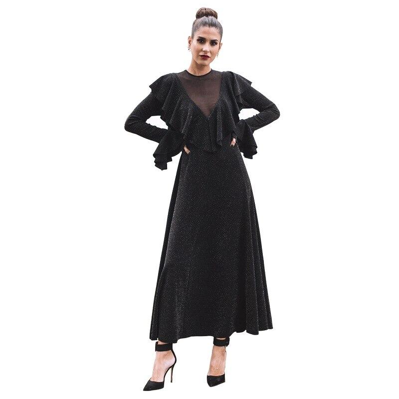 Womens Elegant Formal Dress Night Party Dresses Retro Black A-Line Dress Glitter Dress Sexy V-neck with Mesh Patchwork Vestidos