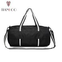 TIANHOO islak ve kuru ayırma spor spor çanta erkekler taşınabilir büyük kapasiteli seyahat bagaj çantası