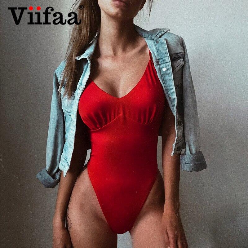 Viifaa Red Solid Skinny Sexy Backless Ruched Cami Bodysuit Summer Body Femme Spaghetti Strap Women Slim Fit Elegant Bodysuits