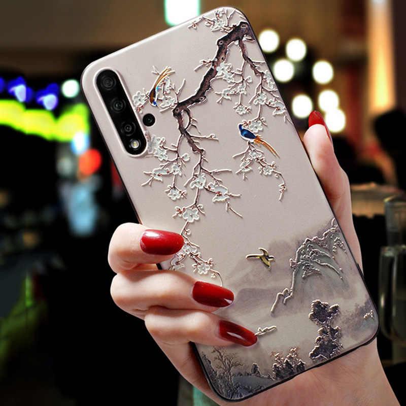 Untuk DOOGEE N20 Kasus 3D Relief Bunga Emboss Ponsel Case untuk DOOGEE Y9 Plus N20 Y7 Silikon Penutup Belakang untuk doogee N20 N10 Funda
