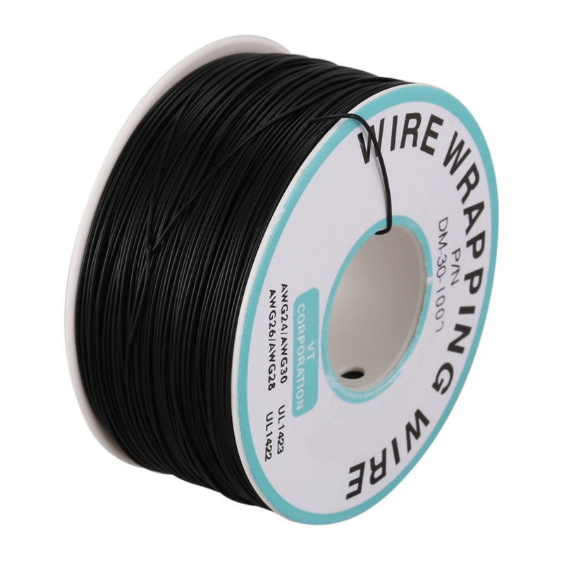 New-P/N B-30-1000 30AWG Tin Plated Copper Wire Wrepping Cable Reel Black 305M