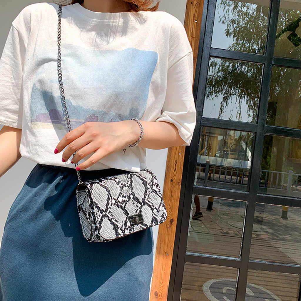 Snake Print Women Shoulder Bag luxury handbags women bags designer Wild Girls Small Square Messenger Bag bolsa feminina #P