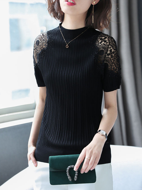 Women Spring Autumn Style Knitted Blouses Shirts Lady Casual Turtleneck Lace Decor Blusas Tops DD8043 6