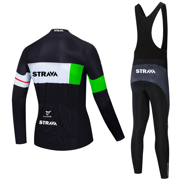 2020 strava pro equipe de manga longa conjunto camisa ciclismo bib calças ropa ciclismo bicicleta roupas mtb camisa uniforme dos homens 6