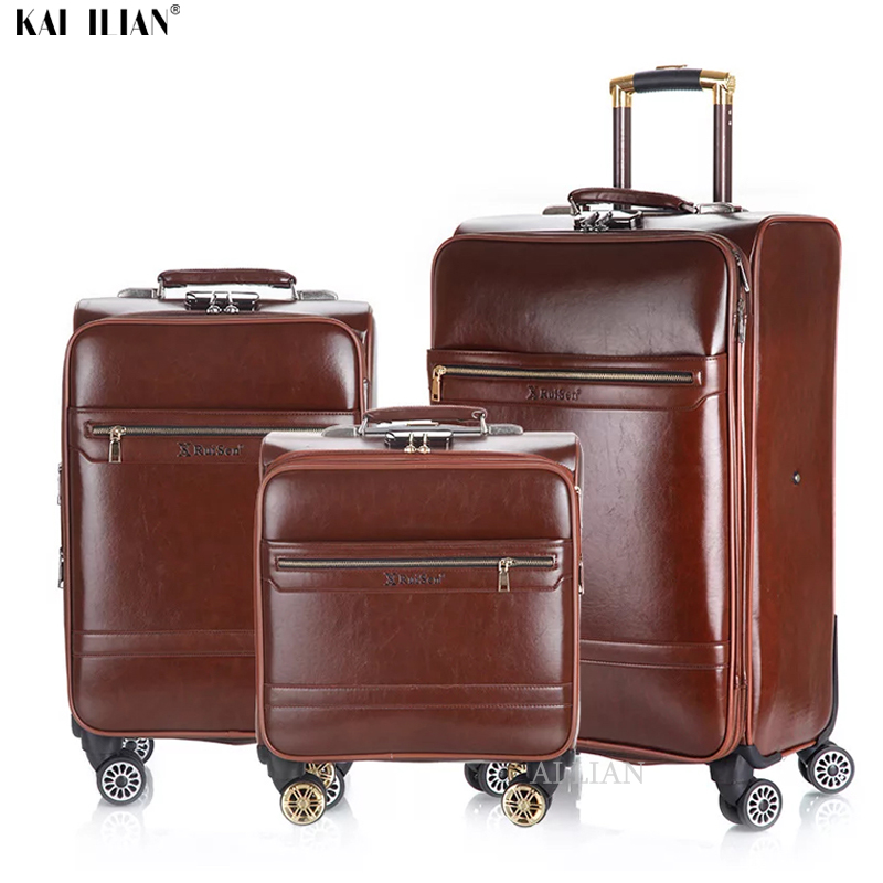 NEW 3PCS 16''20/24 Inch Rolling Luggage Set Travel Suitcase Cabin Trolley Luggage Business Carry On Suitcase PU Leather Big Bag