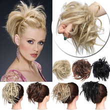 Synthetic Hair Ring Blonde Wrap For Extension  Donut Curly Wig pieces Rubber Band Tail Ponytail Accessory