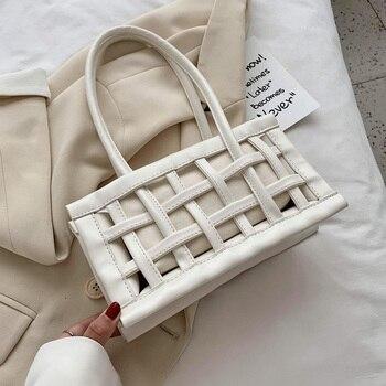 Waffle Cutout Armpit Bag Small Hand Bags For Women 2020 Summer Elegant Shoulder Bags Female Travel Luxury Beach Handbags
