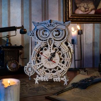 Robotime Rokr 161pcs Creative DIY 3D Owl Clock Wooden Model Building Block Kits Assembly Toy Gift for Children Adult LK503 2