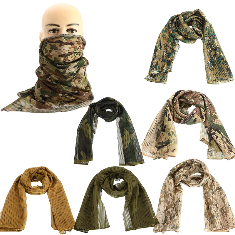 Camouflage Scarf Neckerchief Fish Net Mesh Army Scarf Veil Sniper Cover Camping Hiking Outdoor Sports Neckerchief