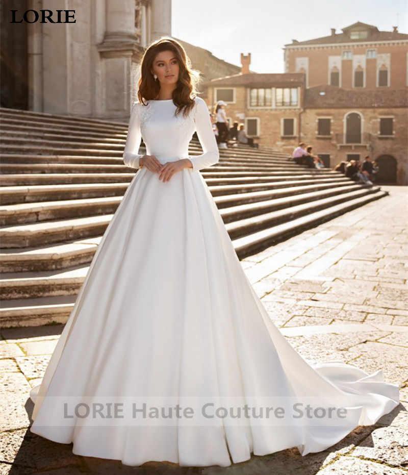 Lorie Princess Wedding Dresses Satin Long Sleeve Bride Gowns