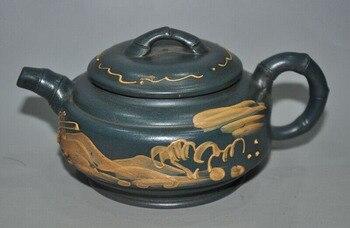 Decoración de boda Chinase exquisita cerámica Yixing Zasha paisaje texto tetera vino tetera jarra