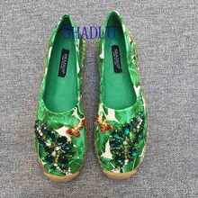 Loafers Fisherman-Shoes Rhinestone Banana-Print Flat Women Lovestahl Genuine-Leather