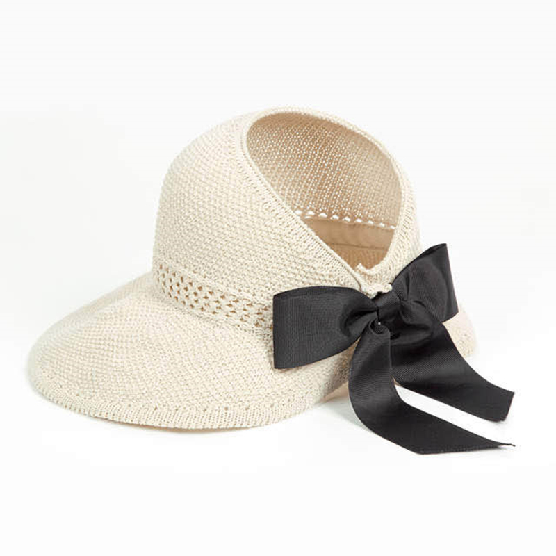 New Summer Bow Sun Hats Empty Top Hat Women UV Protction Caps Cutout Beach Hat Women Sun Cap Ribbon Knit Raffia Hat Sun Hat 6