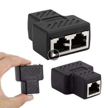 1 To 2 Ways Network Connector Network Cable Female Distributor Ethernet Network RJ45 Splitter Extender Plug Adapter C For Laptop 1