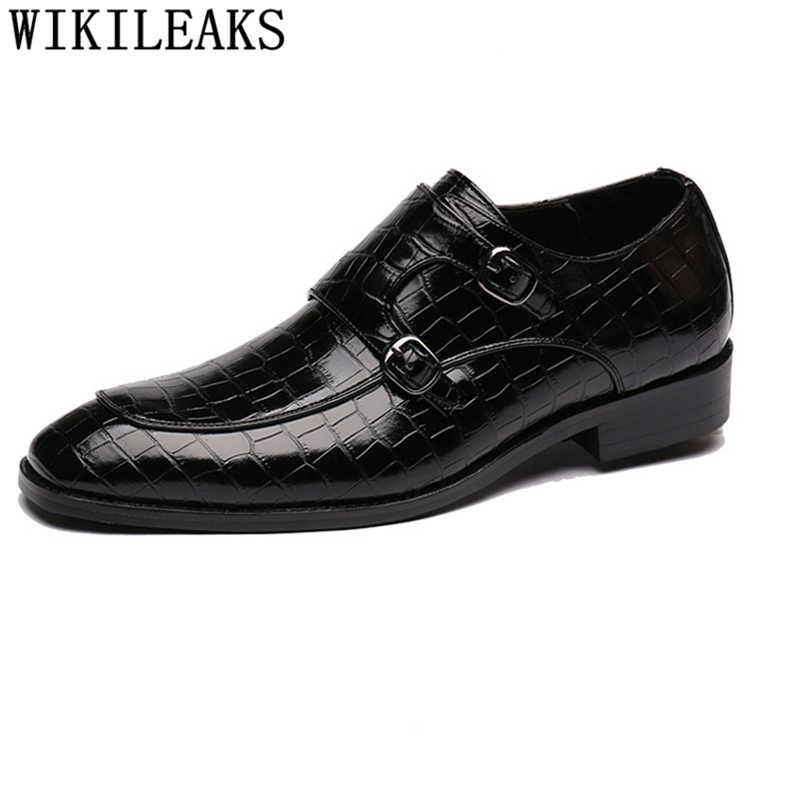 Keşiş askısı ayakkabı erkekler klasik düğün elbisesi kuaför İtalyan ayakkabı erkekler resmi akşam elbise loafer'lar erkekler elbise ayakkabı deri buty